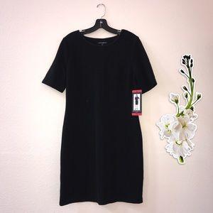 NWT Mario Serrani Textured Knit Black Dress